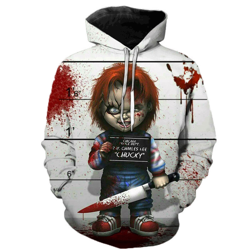 Horror Movie Chucky Hoodies Style Men Brand Fashion 3d Print Pattern Sweatshirts Autumn Long Sleeve Hip Hop Pullover Plus Size