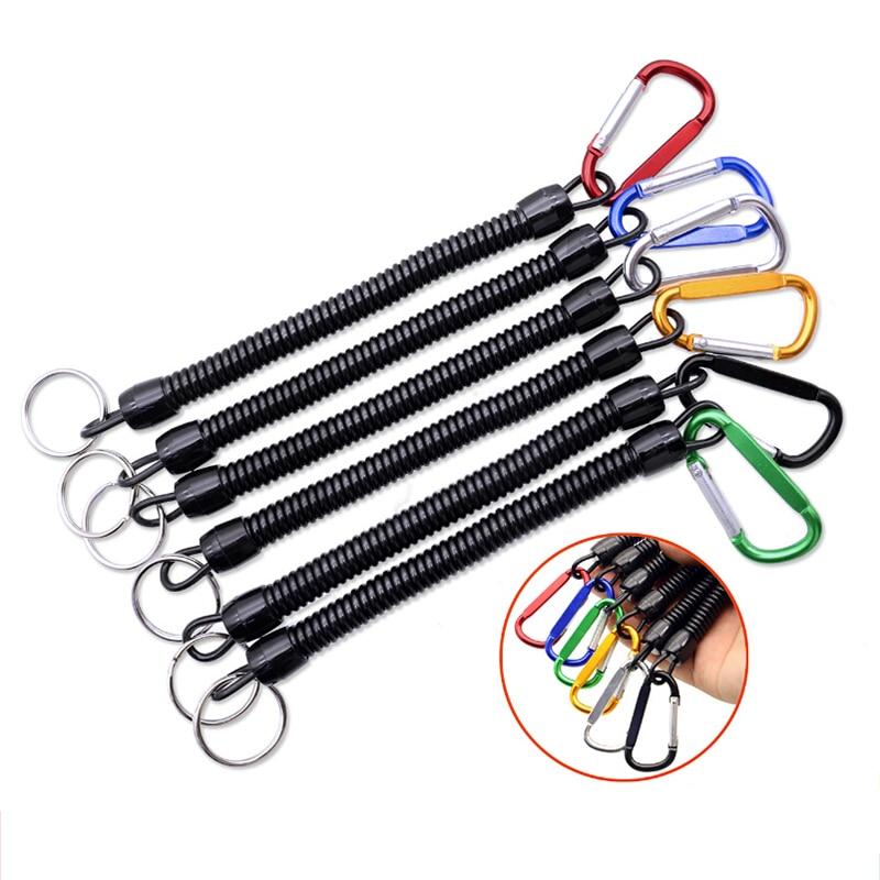 Lanières de pêche portatives corde élastique à ressort rétractable porte-clés Anti-perte Camping mousqueton serrure sécurisée corde couleur aléatoire