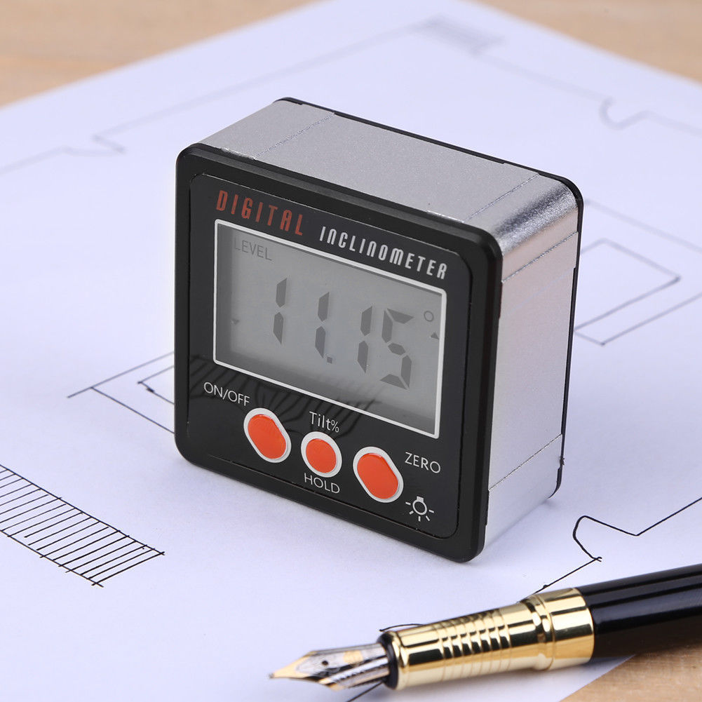 4*90° LCD Mini Digital Protractor Inclinometer Level Gauge For Angle Calibration Protractor Bevel Box Angle Gauge Magnet Base