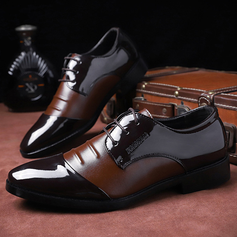 Merkmak Business Leather Men Formal Shoes Fashion Spring Autumn PU Leather Lace Up Flats Oxford Shoes Men Party Wedding Footwear
