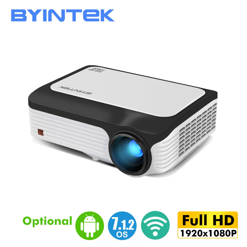 BYINTEK Full HD Projector M1080,1920x1080P, Smart (2GB+16GB) Android WIFI Beamer,Portable LED Mini Projector For 3D 4K Cinema
