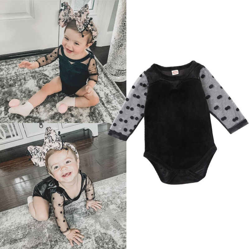2020 Baby Spring Clothing Baby Girl Polka Dots Sleeve See Through Mesh Sleeve Romper Long Sleeve Jumpsuit Outfit Casual Clothes