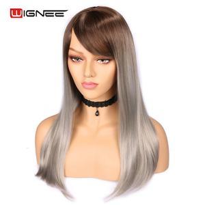 Image 3 - Wignee wysokiej temperatury włókna peruki syntetyczne proste dla kobiet średni rozmiar średni brąz kobiety peruka z grzywką peruki z naturalnych włosów