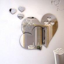 3d espelho amor corações adesivo de parede decalque diy adesivos de parede para sala estar estilo moderno casa arte mural decoração removível
