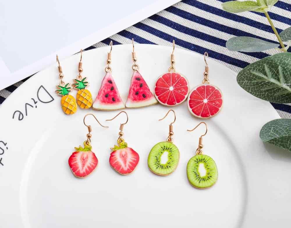 Brincos femininos de abacaxi bonitos, brincos para meninas com abacaxi de morango, tomate, kiwi, pepino laranja, apple e abacaxi
