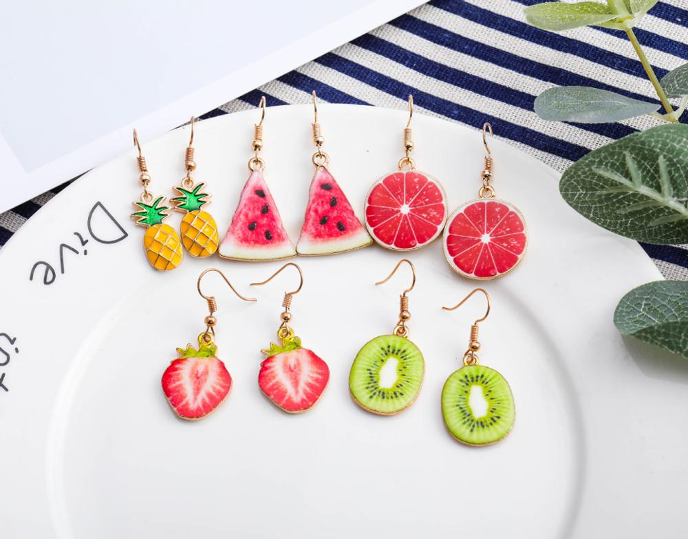Korea New Cute Fruit Lady Earrings Strawberry Pineapple Tomato Kiwi Orange Cucumber Dragon Apple Pineapple Girl Fruit Earrings