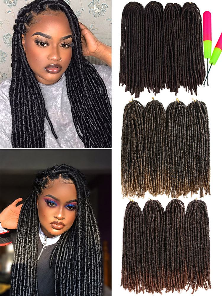 X-TRESS Braids Hair Hair-Extensions Crochet Dreadlocks Soft Faux-Locs Color Straight