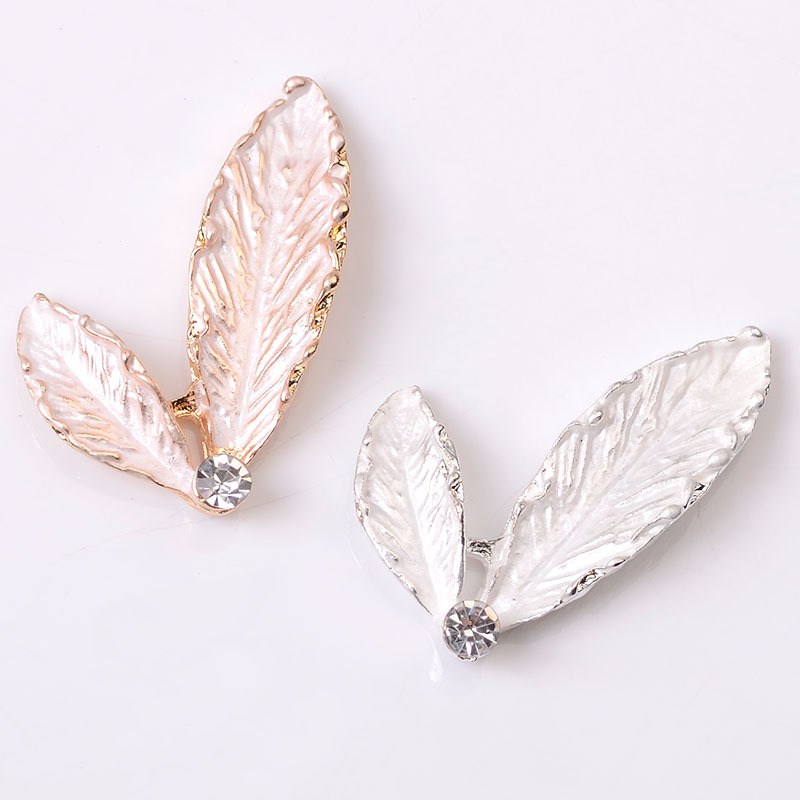 <font><b>10</b></font> PCS <font><b>30</b></font>*25mm Metal Alloy Scumbling Leaves Connectors Charm KC Gold/Silver Color Leaf DIY Accessories For Jewelry Making image
