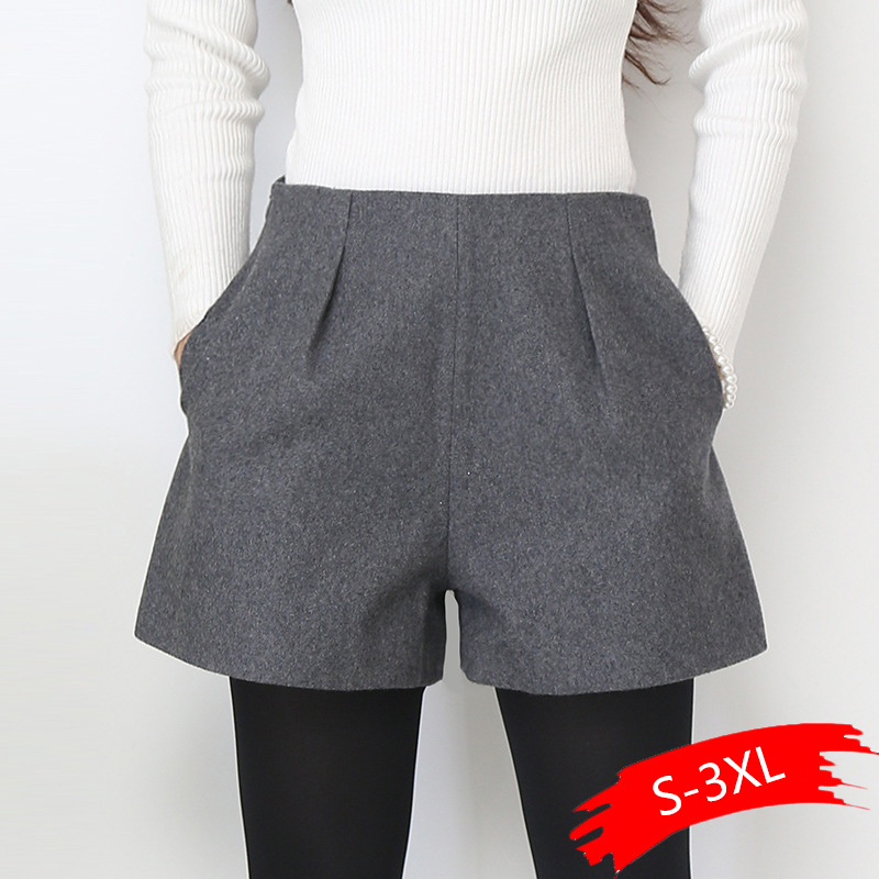Winter Shorts For Women Wool Boots Shorts Candy Colors Zip Up Loose Short Pants With Pockets Female Casual Wear