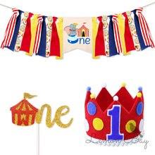 Circus Thema Kinder Favor Hochstuhl Banner Einweg Geschirr Papier Tasse Platte Geburtstag Baby Shower Party Decor Liefert