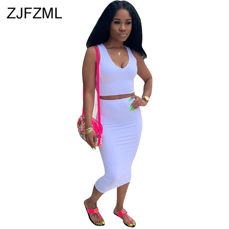 Sexy 2 Piece Outfits For Women Summer Clothes Deep V Neck Sleeveless Tank Top+High Waist  Bandage Mid-Calf Skirts Matching Sets