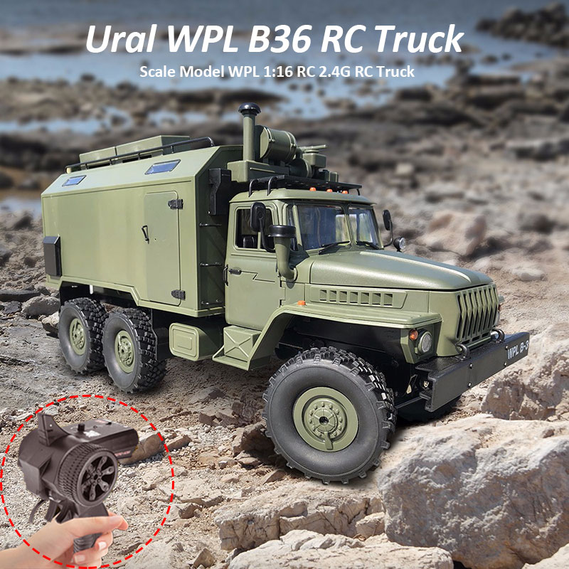 WPL B36 Ural Truck Scale Model WPL 1:16 RC Army Truck 2.4G 6WD RC Car Off-rode Remote Control Military Trucks Rock Crawler