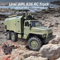 Oyuncaklar ve Hobi Ürünleri'ten RC Arabalar'de WPL B36 Ural kamyon ölçekli modeli WPL 1:16 RC ordu kamyon 2.4G 6WD RC araba Off road uzaktan kumanda kontrol askeri kamyon kaya paletli