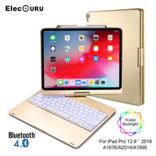 Tablet Keyboard Case for iPad Pro 12.9 2018 Backlit Flip Wireless Bluetooth Keyboard with Protective Cover 7 Colors Backlight