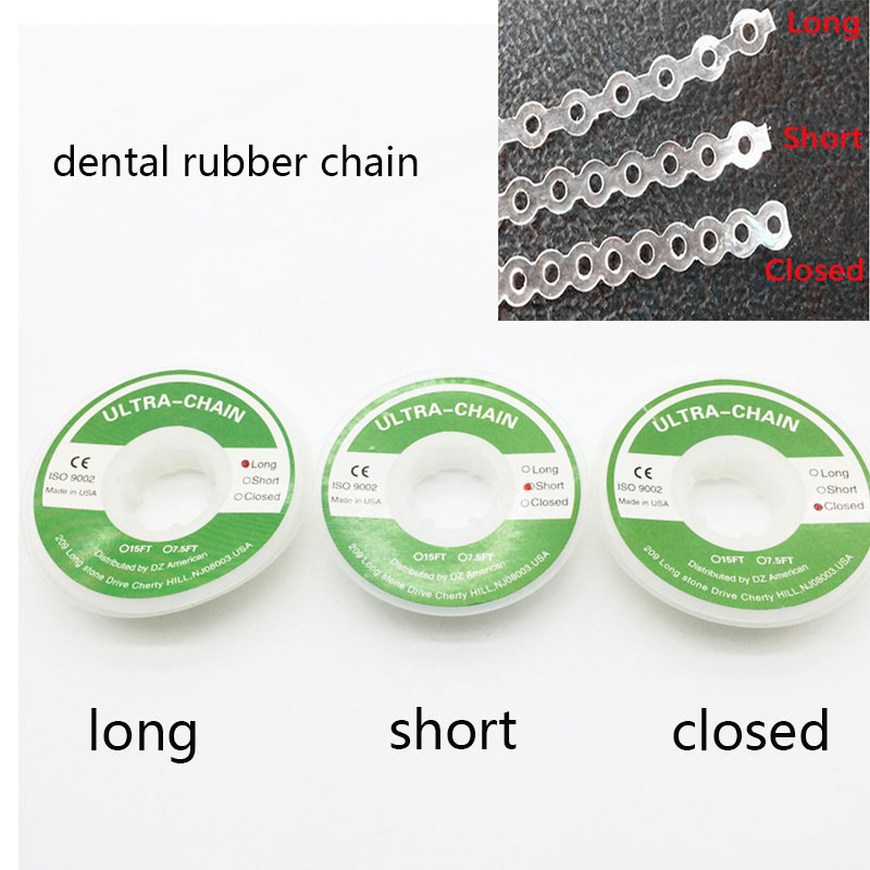 Dental Clinic Supplies Orthodontic Elastic Clear Ultra Power Chain Rubber Band Closed/Short/Long For Lab Supplies