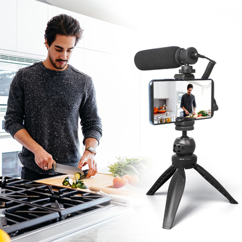 MAONO Smartphone Video Microphone Kit Super-Cardioid Shotgun Interview Vlog Mic with Tripod Stand for DSLR Camera Phone PC 1