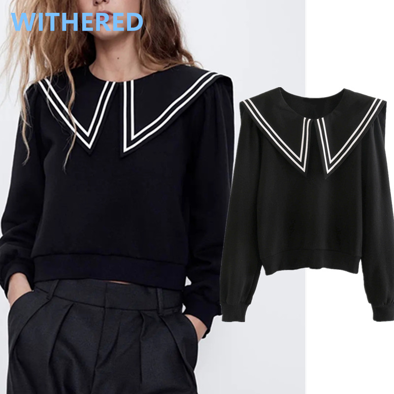 Withered BTS 2020 England Style Vintage High Street Navy Sailor Collar Patchwork Short Sweatshirt Women Hoodies Tops Pullovers
