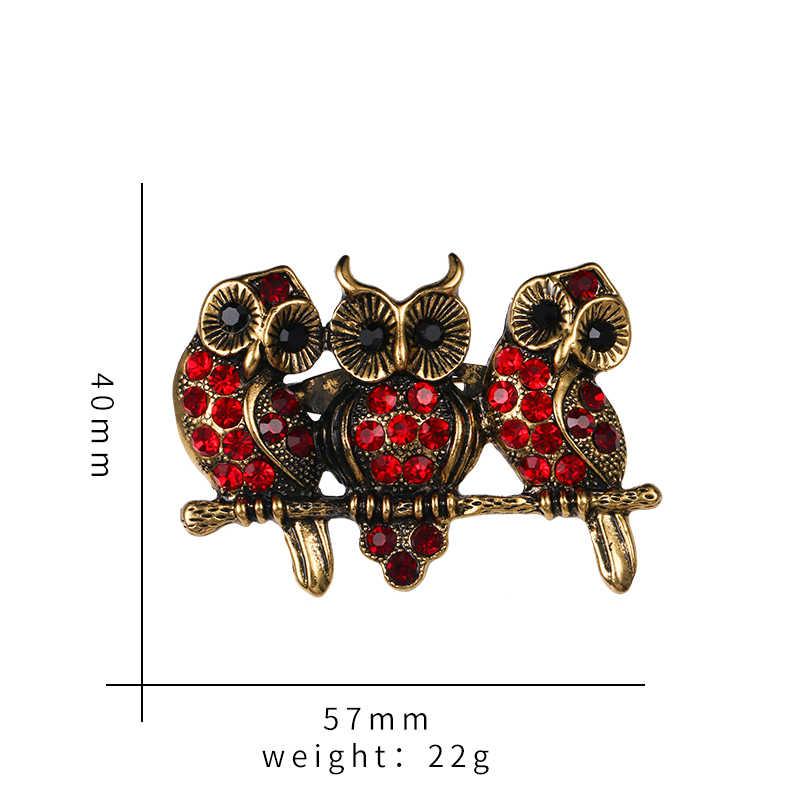Baiduqiandu מותג אדום Rhinestones שלוש Loving סיכה לנשים שמלת תכשיטים אבזרים