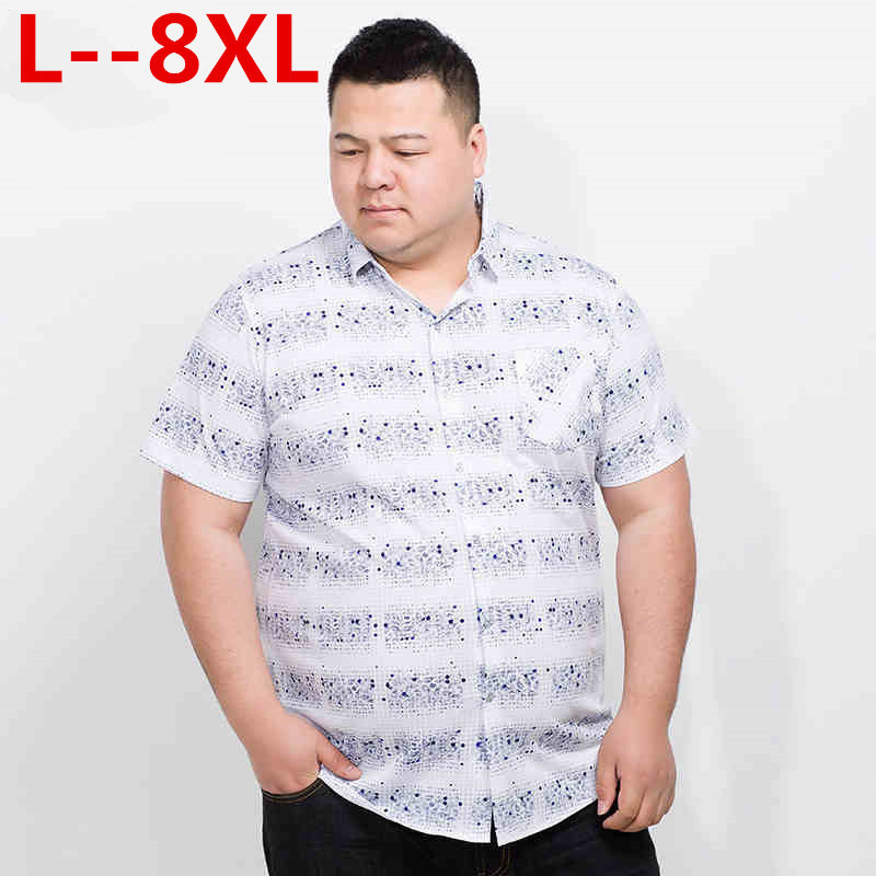 Plus Size 10XL 8XL 6XL 5XL New Short Casual Shirt Men Brand Clothing Fashion Striped Shirt Male Top Quality Cotton Plaid Shirt