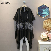 XITAO Large Size Blouse Irregular Women Single Breast Black
