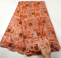 Newest Design African Organza Lace With Sequins Orange High Quality Nigeria Organza lace fabric for Evening dress