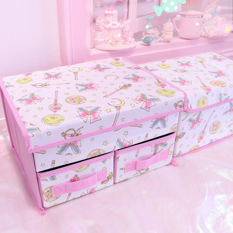 Large Cartoon Sailor Moon Pu Leather Folding Storage Box Foldable Bins Toys Organizer Storage Basket Laundry Basket