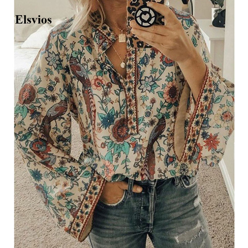 Elsvios Women Peacock Print Boho   Blouse   Elegant Vintage Long Sleeve   Blouse     Shirt   Summer Autumn Female V-Neck Button Blusa Tops