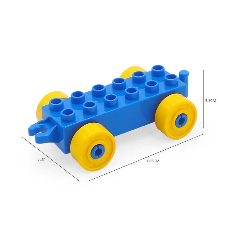 Dla Legoing Duplo pociąg kolejowy przewóz płyta podstawowa figurki duży rozmiar dzieci zabawki miasto bloki zestaw kompatybilny Legoings Duploed Citys
