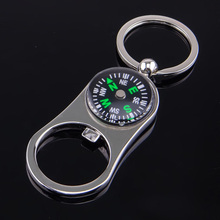 Compass with Beer Opener Key Chains Rings Mens Silver Color KeyChains Car Bag Pendant Keyring Holder Gift Ring