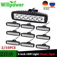 Willpower 10Pcs 6 inch 18W LED Work Light 1800LM Spot Flood Car Lights for Motorcycle Offroad 4x4 ATV Truck Tractor 12V 24V