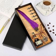 купить New Retro Vintage Calligraphy Feather Pen Set Teacher Office Writing Stationery High Quality Gift Box Set Holiday Gift недорого