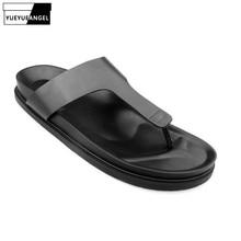 Summer Mens Flip Flops Vintage Thick Platform Gladiator Slippers Retro Bathroom Antiskid Outside Beach Genuine Leather Slippers