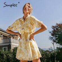 Mini Dress Simplee Yellow Women Summer Vintage Ladies Shirt Vestido Floral-Print Casual