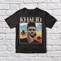 Винтажная черная футболка Khalid 90 унисекс