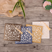 50pcs 4 Colors Laser Cut Wedding Invitations Card Square Flower Greeting Cards Customize with Tassel Party Decorations