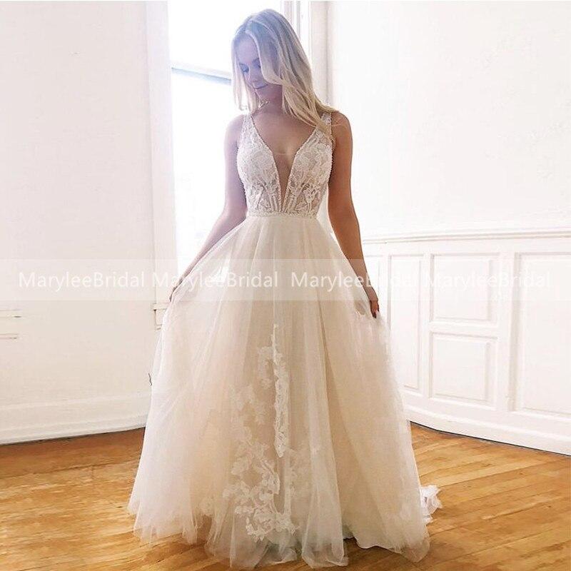 Chic Boho Bride Dress Light Champagne Backless Wedding Dress With Beading Svatební Saty Summer Beach Bridal Gowns Suknia ślubna