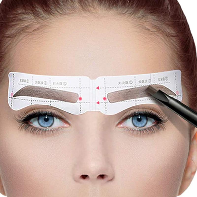 24 pares profissional sobrancelha estêncil cartão modelo sobrancelha adesivo ferramenta desenhar sobrancelhas perfeitas