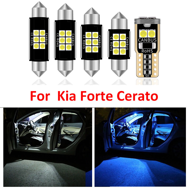 8pcs Car Accessories White Interior LED Light Bulbs Package Kit For Kia Forte Cerato 2009-2016 T10 31MM 39MM Map Dome Trunk Lamp