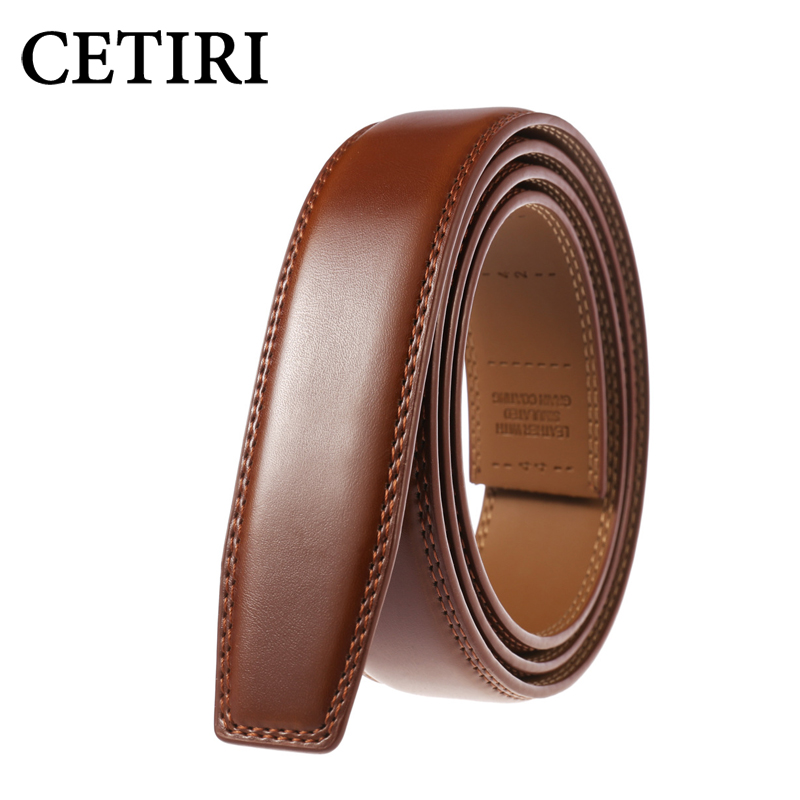 CETIRI Top Quality Male Leather Belt Waist Strap For Men Without Automatic Buckle Cowhide Black Brown Cummerbunds|Men