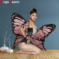 Женский Блестящий розовый костюм с крыльями бабочки, стразы, танцевальный костюм, вечерние костюмы для выступлений, одежда для сцены, коспл...