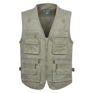 Image 1 - 5XL 6XL 7XL New Male Casual Summer Big Size Cotton Sleeveless Vest With Many 16 Pockets Men Multi Pocket Photograph Waistcoat