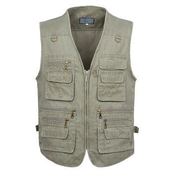 5XL 6XL 7XL New Male Casual Summer Big Size Cotton Sleeveless Vest With Many 16 Pockets Men Multi Pocket Photograph Waistcoat