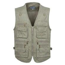 5XL 6XL 7XL Nieuwe Mannelijke Toevallige Zomer Grote Size Katoen Mouwloos Vest Met Vele 16 Zakken Mannen Multi Pocket Foto vest