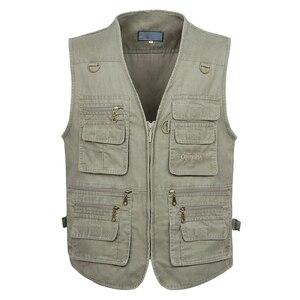 Image 1 - 5XL 6XL 7XL Nieuwe Mannelijke Toevallige Zomer Grote Size Katoen Mouwloos Vest Met Vele 16 Zakken Mannen Multi Pocket Foto vest