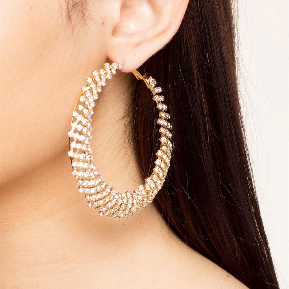 New Sparkling Acrylic Rhinestone women's Big Round Earrings Exquisite Jewelry Collection Accessories women's Earrings