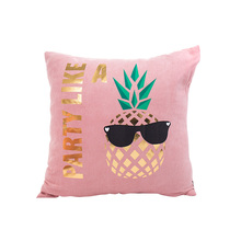sweet pink suede cushion covers 45*45cm no inner hot stamping kawaii pineapple decoration washable pillow for seat X36