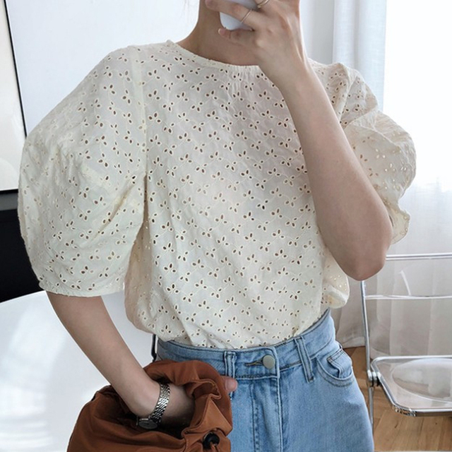 Korean Chic Summer Sweet Women Blouses Vintage O Neck Puff Sleeve Female Shirts 2020 Fashion New Hollow Out Blusas Mujer 5