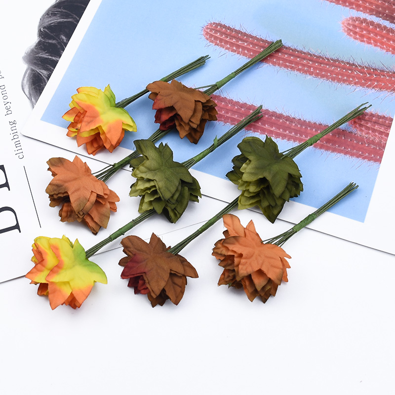 12/24/36 Pieces Silk Maple Leaf Decorative Flower Wreath Scrapbook Christmas Leaves Wedding Bridal Accessories Artificial Plants
