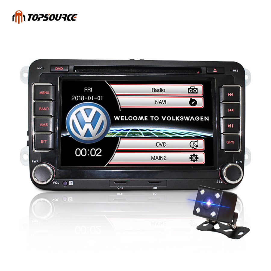TOPSOURCE Car Multimedia Player 7 2 din Car DVD GPS radio stereo player for Volkswagen VW Windows Ce Double Din 800*480 image
