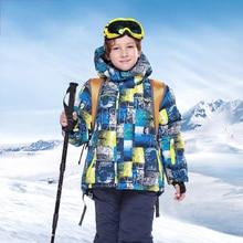 Детский лыжный костюм ветрозащитная Водонепроницаемая детская Лыжная одежда теплая куртка и штаны, комплект для девочек и мальчиков, зимняя Лыжная одежда для занятий сноубордингом